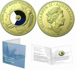 """2020 $2 """"C"""" MINTMARK COLOURED COIN..75th ANNIVERSARY END OF WWII in RAM FOLDER."""