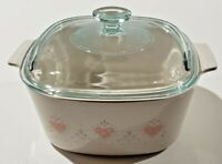 Vintage Corning Ware Forever Yours Hearts A-3-B Casserole With Pyrex Lid 3 Liter
