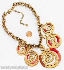 Chico's Signed Statement Necklace Gold Tone Chain & Big Swirl Pendants Pink Red