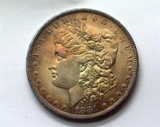 1881-O MORGAN SILVER DOLLAR NEAR GEM UNCIRCULATED IRIDESCENT TONING!