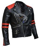 Men's Brando Classic Biker Black & Red Vintage Motorcycle Real Leather Jacket