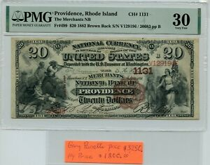 FR. 499 1882 BB $20 CH #1131 NATL BK NOTE PROVIDENCE, RI PMG 30 (10/18)