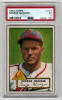 1952 Topps Baseball #115 George Munger - PSA 5 EX