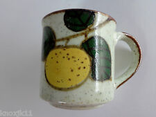 NEW Vtg Pottery Speckled COFFEE MUG Tea Cup Yellow Lemon Grapefruit Tree MINT