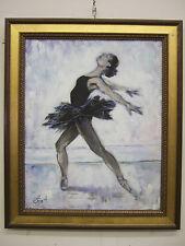 """Black Swan"", ballerina, oil on canvas, listed artist Irek T. Szelag"