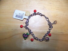 Claire's Adorable Chocolate Frosted Cookies & Cherries Charm Bracelet