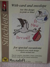 Mouseloft stitchlets CROSS STITCH KIT ~ UN NUOVO ARRIVO! ~ CARD & BUSTA ~ NUOVO