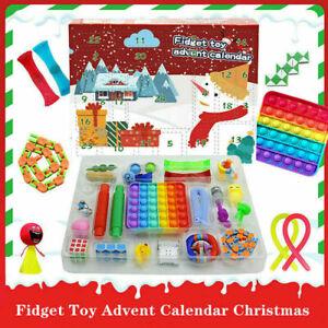 Surprise Fidget Box Push Pop Bubble Toy Sensory Figurine Advent Calendar Set