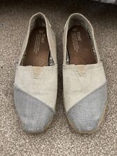 Used - Genuine Toms - Size UK 6 - Limited Edition - Cream/Silver/Blue Colour