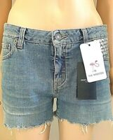 NWT SAINT LAURENT PARIS Denim Stretch Shorts Embellished Distressed 27 MSRP $690