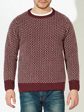 £190 John Lewis 100% Lambswool Men's Red Made In Italy Birdseye Wool Jumper XXL