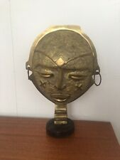 African Tribal Head Cast Brass On Wooden Base Art Sculpture Metal Striking Piece