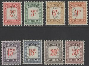SEYCHELLES SGD1/8 1951 POSTAGE DUE SET FINE USED