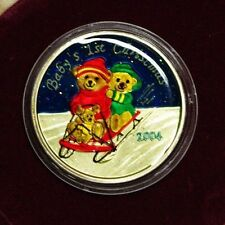 BABY'S FIRST CHRISTMAS COIN 1 TROY OUNCE .999 FINE SILVER COLORIZED 2004