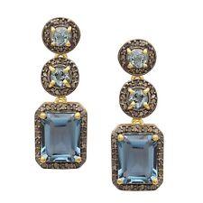 925 Silver Champagne Diamond & London Blue Topaz Drop/Dangle Earring For Women