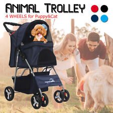 "39"" x 26"" Pet Stroller Cat Dog Cage 4 Wheels Stroller Travel Folding Carrier Us"