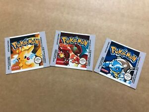Pokemon Yellow / Red / Blue Set EUR Replacement Label / Sticker for Game Boy