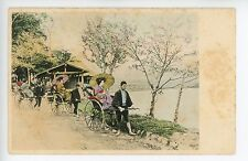 Antique Japanese Postcard MEN PULLING RICKSHAWS Hand-Colored ca. 1900s