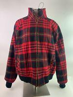 Pendleton Womens Vintage Bomber Style Lined Virgin Wool Zip Up Jacket Plaid Red