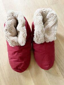 Restoration Hardware L/XL Plush Unisex Foot Duvet Down Red  Burgundy Slippers
