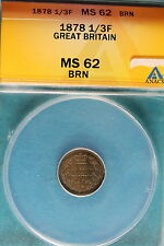 New listing 1878 Anacs Ms62 Brown Great Britain 1/3 Farthing! #B5146