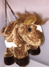 HORSE PONY PURSE Bag Kids Children AURORA Plush Straps ZIPPERED POUCH 14""