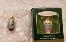 Hallmark Miniature Ornament Celestial Bunny Rabbit Porcelain, 2000, Excellent!