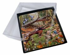 4x Woodland Forest Wildlife Animals Picture Table Coasters Set in Gift B, AB-50C