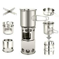 Outdoor Camping Stove Cooking Pot Set Stainless Steel Tableware Cookware JF#E