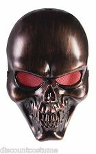 BRONZE SKULL PLASTIC FACE MASK w/RED MESH EYES ADULT HALLOWEEN COSTUME ACCESSORY