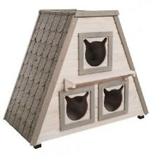 Cat House Shelter Den Wooden Indoor Outdoor Three Bed Two Tier Garden Home