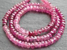 """HAND FACETED PINK RUBELITE TOURMALINE RONDELLES, 3.5mm - 4mm, 13"""", 145 beads"""