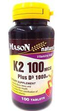 Mason Natural K2 Plus D3 Tablets, 100 Count …