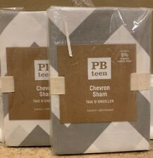 NEW 2PC Pottery Barn Teen Chevron STANDARD Sham GRAY