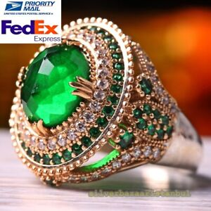 Turkish Handmade 925 Sterling Silver Round Emerald Stone Lady Womans Female Ring