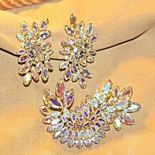 VINTAGE RETRO SHERMAN AB TRIPLE TIER CLUSTER BROOCH & EARRING SET