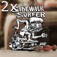 2x Stück Ed Roth Sidewalk Surfer Skater Sticker Rat Fink Hot Rod Aufkleber