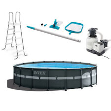 Intex 18ft x 52in Ultra Xtr Round Frame Above Ground Pool Set and Cleaning Kit