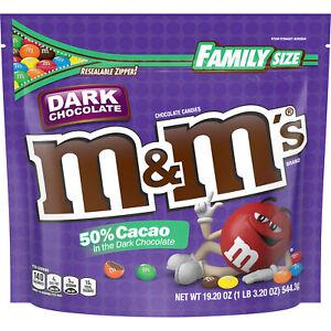 Family Size Dark Chocolate M&M's Chocolate Candies 19.2oz