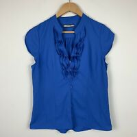 Basque Womens Blouse Size 12 Blue Sleeveless Frilly Button Front Good Condition
