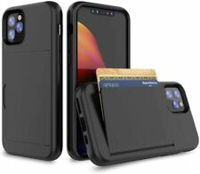 "Apple iPhone 11 5.8"" (2019) Hybrid Armor Soft Touch Wallet Cover Case - Black"