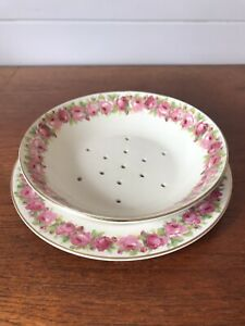 Vintage Royal Doulton Raby Rose Berry/Salad Bowl Strainer And Under Plate