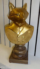 VINTAGE FOX BUST GOLD COLOURED STATUE DRESSED IN SHIRT JACKET ON PLINTH