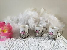 Wedgwood demitasse cups with metal cup holder, white cappuccino cups with roses