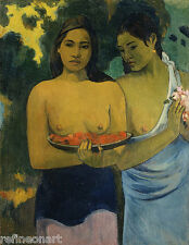 Two Tahitian Women by Paul Gauguin Fine Art Giclee Canvas Print