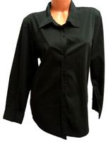 George black spandex stretch button down long sleeve plus top XXL
