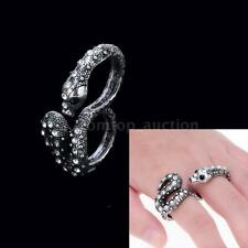 Men Women Silver Snake Rhinestone Two Double Connetor Stretch Finger Rings Band