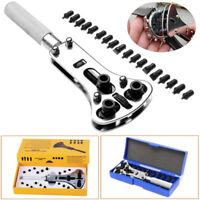 Large Watch Case Opener Tool Battery Cover Screw Removal Wrench &All Size Chucks