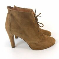 ESCALONA Size 38 UK5 Tan Leather Suede Ankle Lace Up Heeled Booties Boots