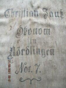 alter Mehlsack Nördlingen Nr. 7, 1905 Leinen Leinensack
